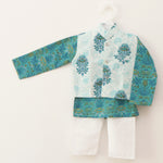 Gorgeous Blue & White Jacket Kurta Set - Nimbu Kids