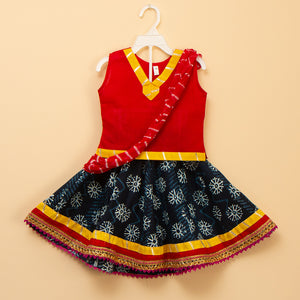 Red and Yellow Printed Lehenga Skirt Top - Nimbu Kids