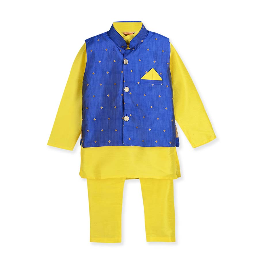 Peppy Yellow Silk Kurta Pajama 3-piece set with Nitara Jacket - Nimbu Kids