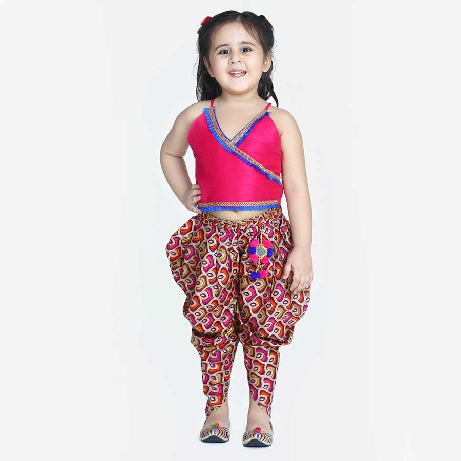 Bright Silk Angarkha Top With Maya Aztec Print  Dhoti Pants - Nimbu Kids