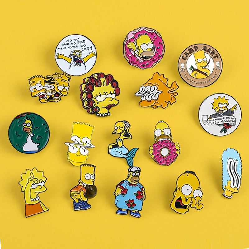 Collection de Pins Simpson - 12 Styles Différents - Pins Cartoon Pins Original et Pas Cher
