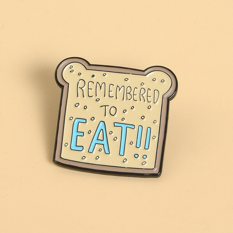 Pins original et pas cher. Pins brioche Kawaii Remember To EAT ! Pins cartoon toast mignon