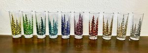 Hand Painted Pine Tree Shot Glasses