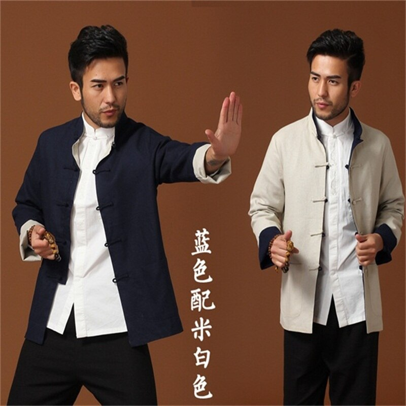 Chinese Men/'s Kung Fu Jacket Reversible Two-Face Linen Coat Men/'s Cotton Outerwe