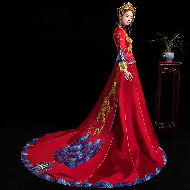 Luxury Ancient Royal Red Chinese Wedding Dress Traditional Bride