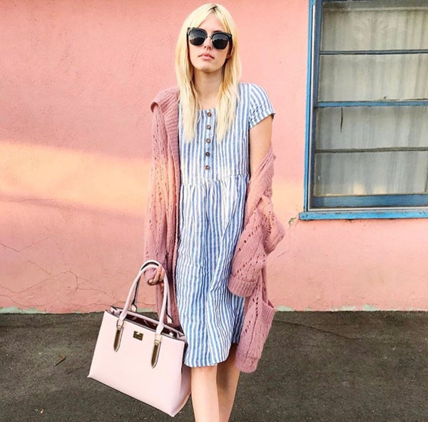 Pyne & Smith striped linen dress styled with a bag and cardigan