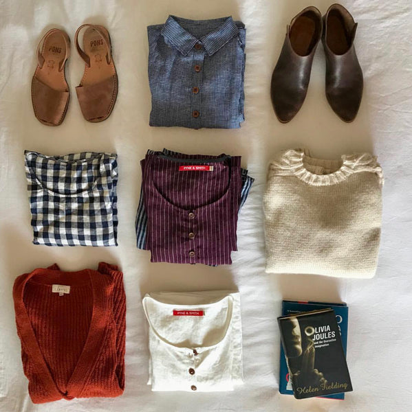 Pyne & Smith cool & comfortable linen dress styled in an Insta-worthy flatlay