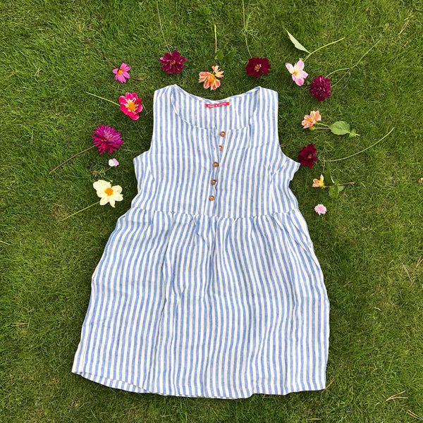 Striped cool and comfortable linen dress with flowers by California clothing designer Pyne & smith