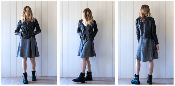 Linen swingy dress styled with black biker jacket and boots
