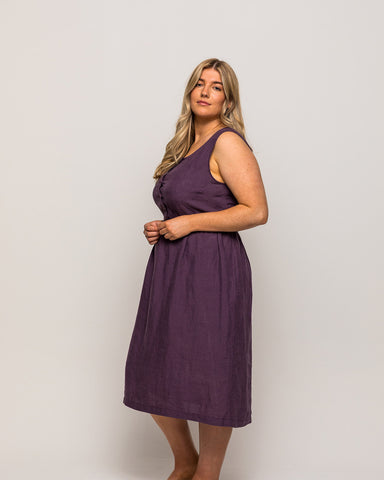Pyne & Smith Model No. 24 dress in Plum Linen with pockets