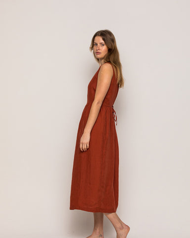 Pyne & Smith No. 26 in Devon Red full length linen dress with pockets