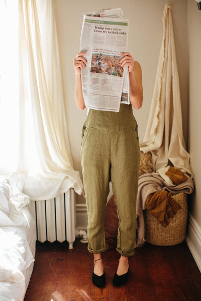 Pyne & Smith breathable linen overalls styled with loafers