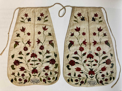 Embroidered 18th century tie on pockets