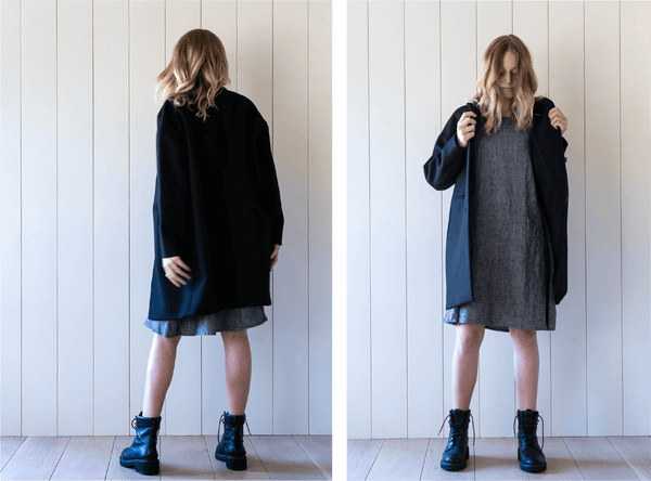 Styling the linen swingy dress by Pyne & Smith for cool weather