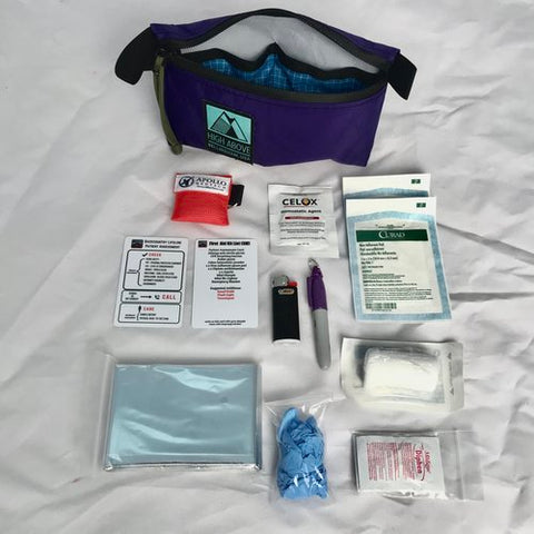 Carry emergency gear like a space blanket and a first aid kit on longer mountain bike rides.