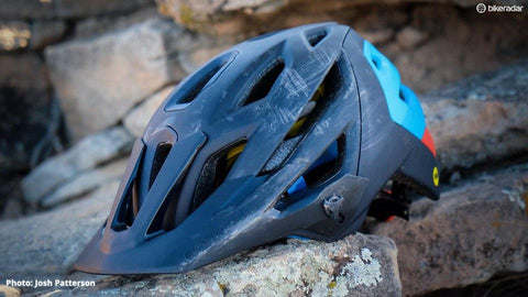Replace your mountain bike helmet after it takes a hit during a crash.