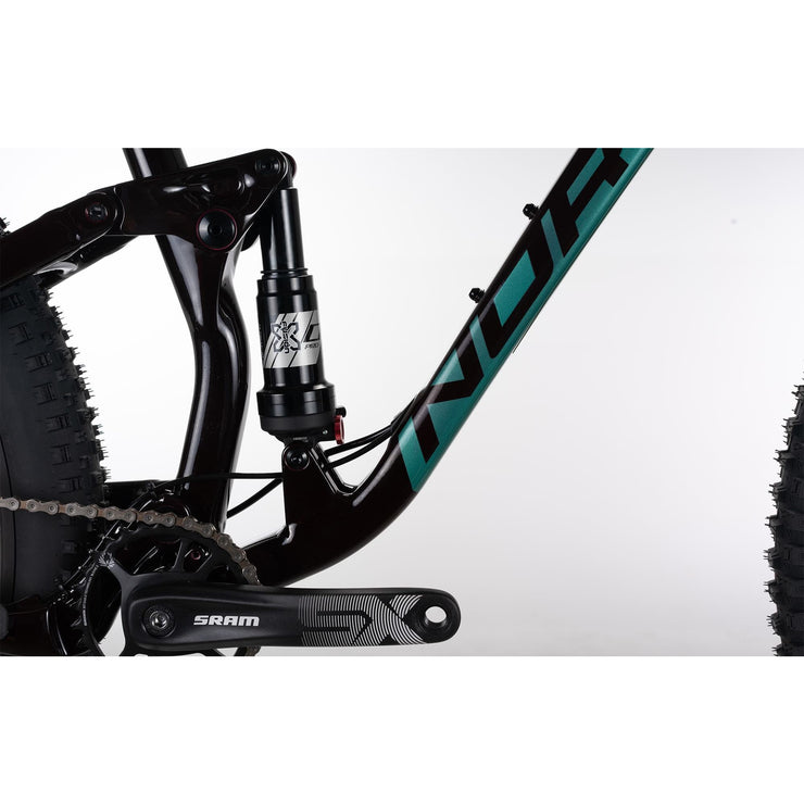 "2021 Norco Fluid FS 3 27.5"" red/green rear shock view"