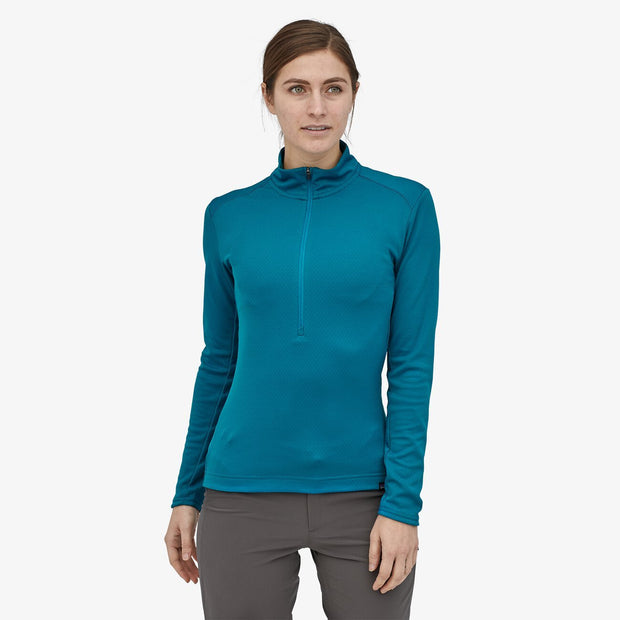 Patagonia Women's Capilene Midweight Bike Jersey steller blue on-model front view