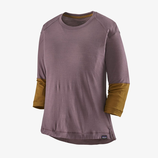 Patagonia Women's Merino 3/4-Sleeved Hyssop Purple Bike jersey  full view