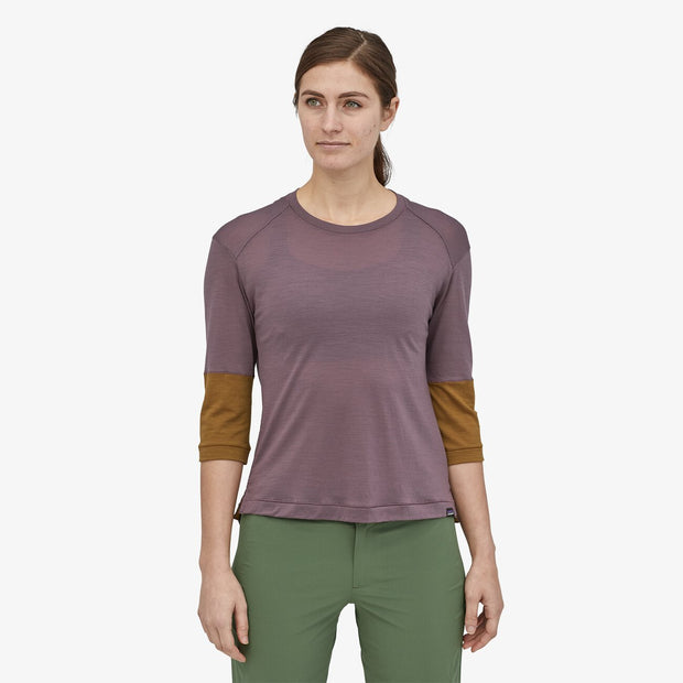 Patagonia Women's Merino 3/4-Sleeved Hyssop Purple Bike jersey on model