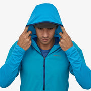 Patagonia Men's Airshed Pro Pullover on-model hood up view