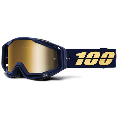100% Goggles Racecraft Bakken Mirror Gold lens full view