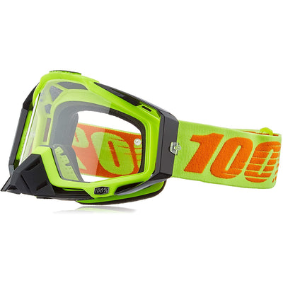 100% Goggles RaceCraft Attack Yellow Clear Lens full view