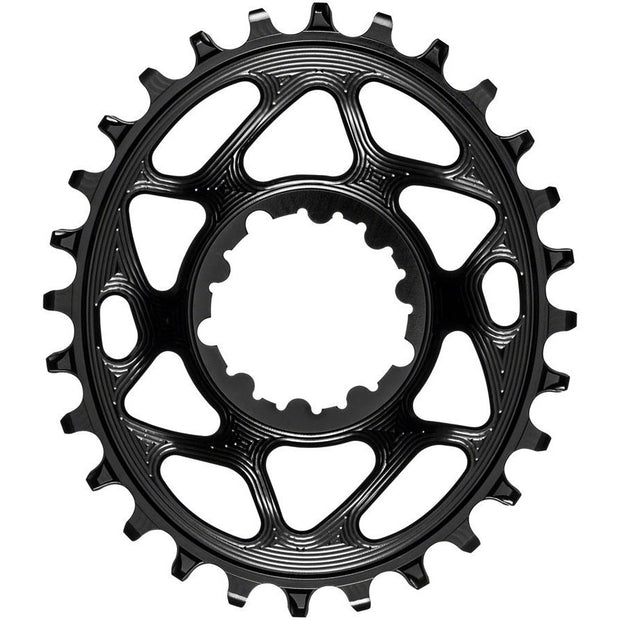 absoluteBLACK Oval Narrow-Wide Direct Mount Chainring - 28t, SRAM 3-Bolt Direct Mount, 3mm Offset, Black, Full View