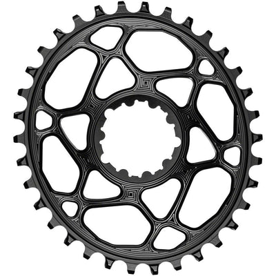 absoluteBLACK Oval Narrow-Wide Direct Mount Chainring - 34t, SRAM 3-Bolt Direct Mount, 3mm Offset, Black, Full View