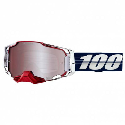 100% Armega Goggle LTD Bruni HiPer Silver Lens full view