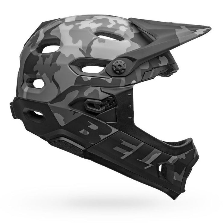 Bell Super DH MIPS Helmet  matte gloss black camo right side view