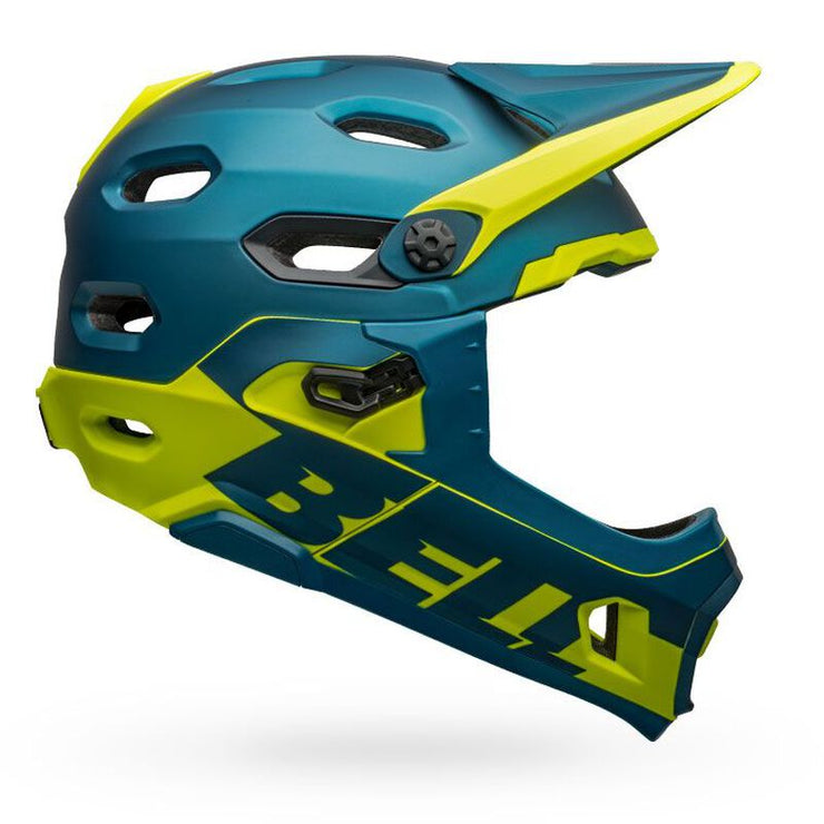 Bell Super DH MIPS Helmet  blue hi-viz yellow side view