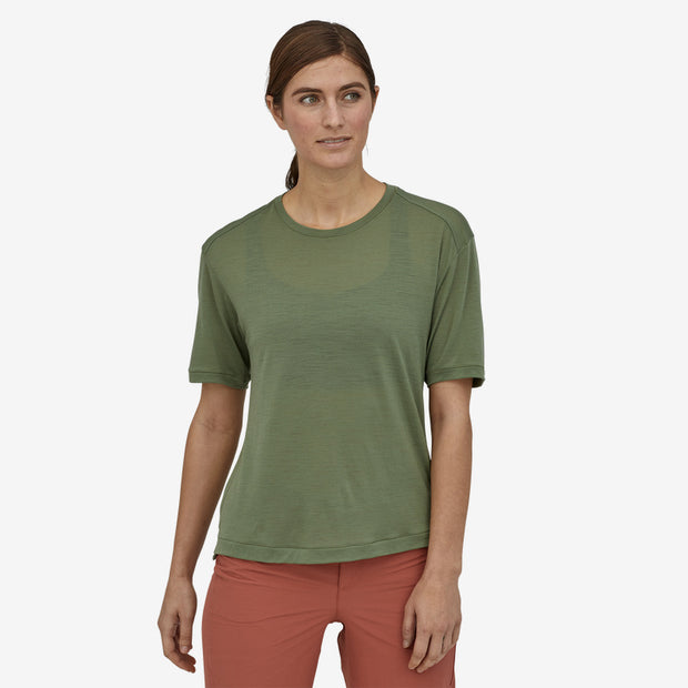 Patagonia Women's Merino Bike Jersey Camp Green on model