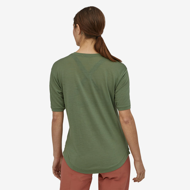 Patagonia Women's Merino Bike Jersey Camp Green Back View