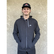 Path Hoodie dark grey full view with male model