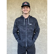 Path Hoodie black camo full view with male model