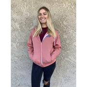 Path Hoodie pink full view with female model