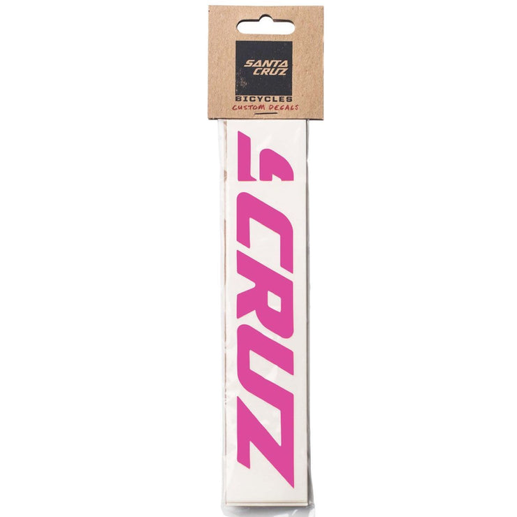 Santa Cruz Custom Downtube Decal bright pink in package