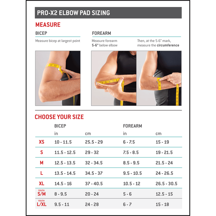 G-Form Pro X2 Elbow Pads size chart