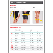 G-Form Pro X2 Knee Pads size chart