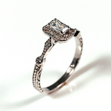 Side Stone Halo Radiant Cut Sterling Silver Ring CZ