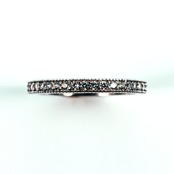 Pave Set Eternity Sterling Silver Ring CZ