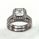 Halo Princess Cut Pave Set Stackable Sterling Silver Ring CZ