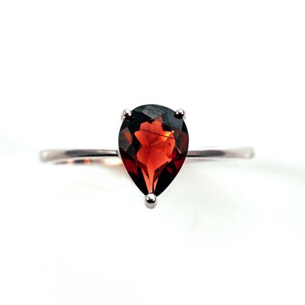 Deep Rose Pear Solitaire Sterling Silver Ring CZ