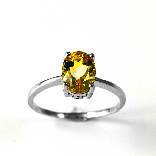 Amber Skies Oval Solitaire Sterling Silver Ring CZ