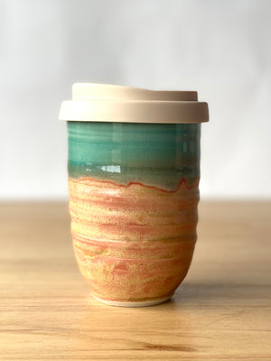 Handmade Pottery Planet Cup + Candle