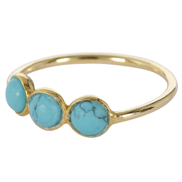 une a une ring trio turquoise