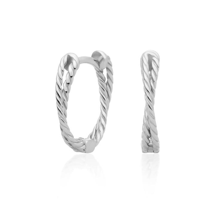 sparkling jewels double twist silver creolen