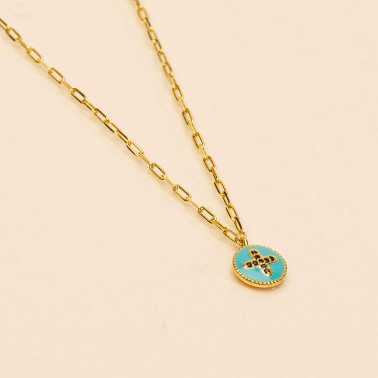 une a une ketting luz turquoise