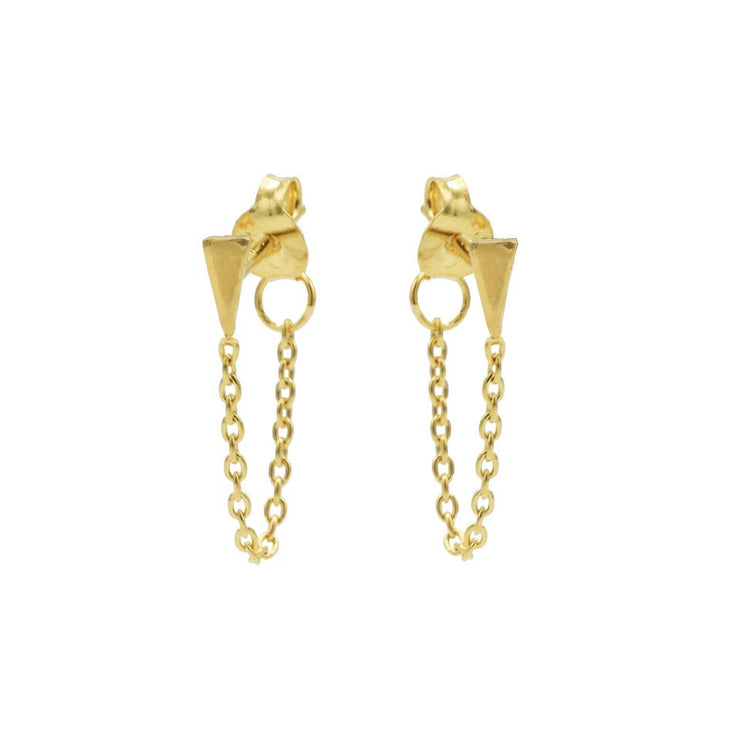 karma chain oorbellen mini cone gold